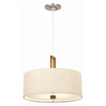 2-Light Tower Pendant Chandelier with Tan Drum Shade