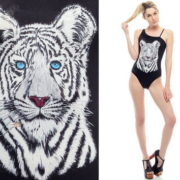 One Piece Swimsuit WHITE TIGER Print 70s Black Bathing Suit One Shoulder Animal Cat Asymmetrical Retro 80s Swim Suit Vintage Extra Small XS