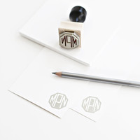 Custom monogram handled rubber stamps