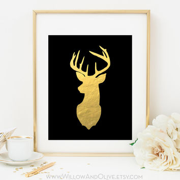 DEER HEAD - LEFT FACE Faux Gold Foil Art Print