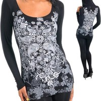 SeXY WoMeNS PLuS SiZe RHiNeSToNeS TaTToo SuBLiMaTioN PRiNT LiGHT HooDie ToP 3X