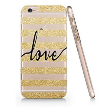 Love Stripped Glitter Slim Pattern Iphone 6 Case, Clear Iphone 6 Hard Cover Case (For Apple Iphone 6 4.7 Inch Screen)-Emerishop (AH871)