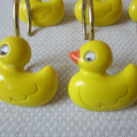 12 Yellow Duck Shower Curtain Rings Hooks Yellow Duckies Movable Eyes