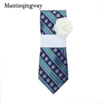 Christmas Snowflake Printed Neck Ties For Mens Striped Neckties Wedding Party Suits Wide Neck Tie With Brooch Sets