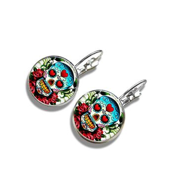 Sugar Skull Glass Cabochon Stud Earings Silver Color Glass Dome Jewelry