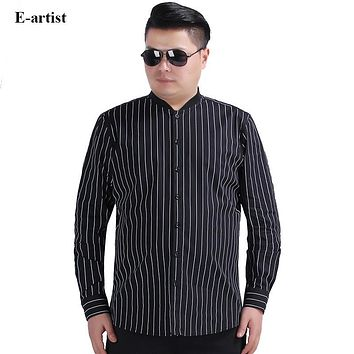 Men's Stand Collar Vertical Stripes Shirts Male Spring Autumn Long Sleeve Blouse Slim Fit Casual Tops