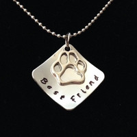 BEST FRIEND | Hand Stamped Square Metal Pendant Tag + Paw Print Charm for Pet Lovers | Jewelry Necklace Keychain | Dog Cat Pet BFF