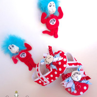 Dr. Seuss Thing 1 Thing 2 Inspired Baby Shoes - 1st Birthday, Photo Prop, dr. seuss baby shower, baby gift, cat in the hat