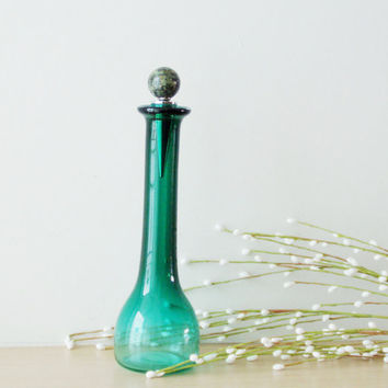 Vintage green crystal vase with agate stopper, long neck, small crystal vase/bottle  with agate stopper, late eighties.