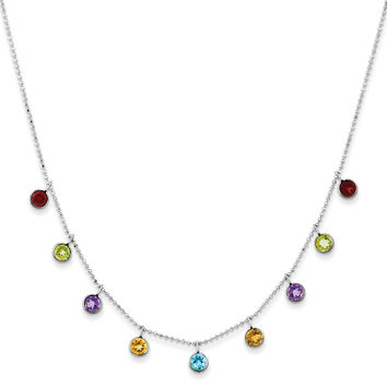 14K White Gold Multi-color Gemstone with 2in ext Necklace XF2649