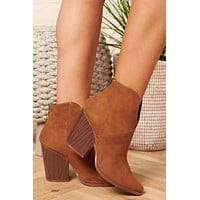 Noelle Faux Suede Booties (Maple)