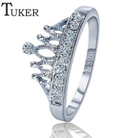TUKER Exquisite Crown Shaped Ring 18k Rose Gold Plated CZ Diamond Rings for Women Fashion Plated Aneis De Ouro Jewelry