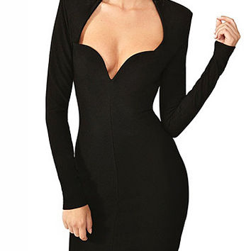 Black Long Sleeve Sexy V Neck Bandage Dress