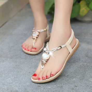 2016 new fashion plus size summer women sandals Classic rhinestone 35-42 women shoes flat sandals