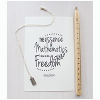 "Abacus Necklace - Gift set with Print - Quote ""The essence of mathematics lies in its freedom"" Georg Cantor"