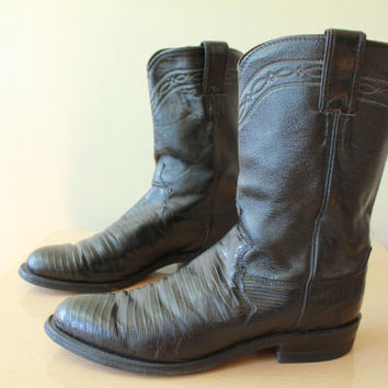 Vintage - JUSTIN - Reptile - Black Leather - Classic - Roper - Cowboy Boots - Mens 7 - Womens 9.5 10
