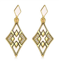 18K Gold Emerald Style Diamond Shaped Drop Down Earrings Made with Swarovksi Elements