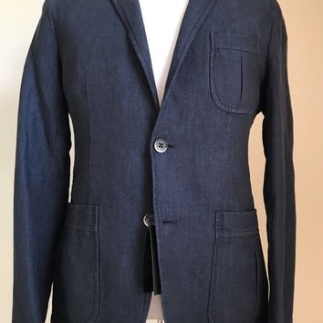 NWT Boss Hugo Boss Marquel15-W Slim Fit Linen/Cotton Jacket Blazer 38R US Blue