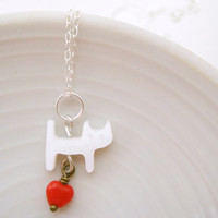 Sterling Silver Necklace With Shell Cat And Red Glass Heart - Love You Kitty Cat