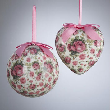 Rose And Heart Ornaments - Ready-to-hang On Pink Ribbon And Bow
