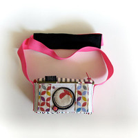 Camera shaped pouch, kids pouch, Pink kids purse, strap pouch, box pouch