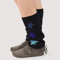 Grunge Leg Warmers in Black with Blue Stars - Upcycled Wool Sweaters