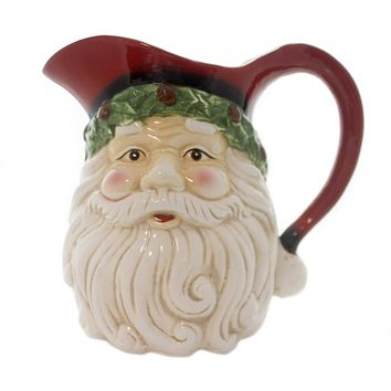 Tabletop SANTA FACE PITCHER Ceramic Christmas Holiday 53180D