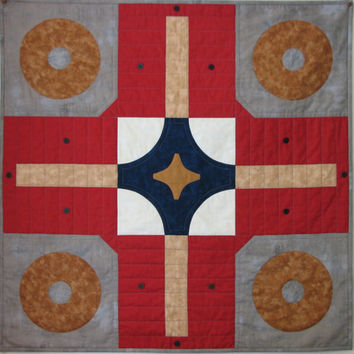 Quilted Wall Hanging, Gameboard Quilt, art quilt, $75
