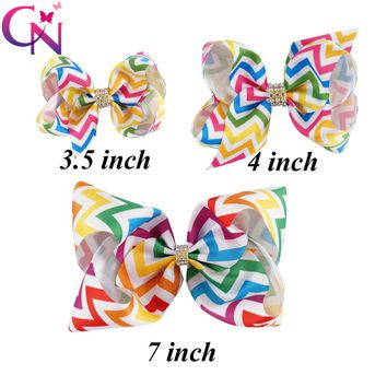 10 Pieces/lot Crystal Rainbow Hair Bows With Clips For Kids Girls Teens Three Sizes Chevron Printed Ribbon Bows Hair Accessories