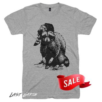 Mens Large On Sale - Bad Raccoon T Shirt Funny Tees TShirts Last Man On Earth Raccoon Shirt Graphic Tshirts