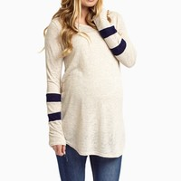 Navy-Striped-Sleeve-Maternity-Knit