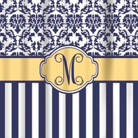 Shower Curtains-Navy Butter Damask