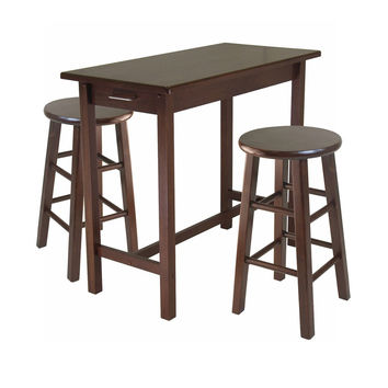 3 Piece Breakfast Table with 2 Square Leg Stools