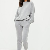 Missguided - Gray Ribbed Sweat Pants