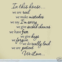 In This House We Are Real Family Wall Decal Quote Saying Sticker Home Decor