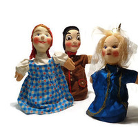 Hand Puppets Three Girls . 1970's Toy Doll . Vintage Story Telling . Chinese Girl, Milk Maid, Princess .