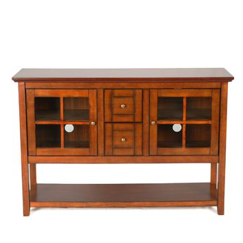 """52"""" Wood Console Table TV Stand - Rustic Brown"""