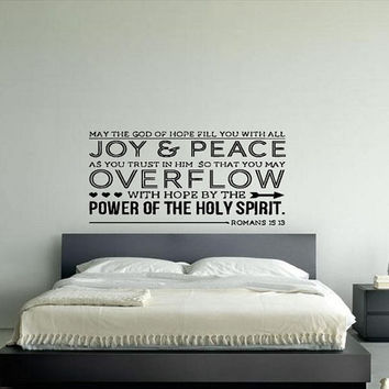 Wall Art Vinyl Sticker Decal Mural Decor Art Romans Bible Verse Quote Mayt The God Of Hope Fill You With All Joy And Peace 1080