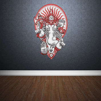 Full Color Wall Decal Mural Sticker Art Paintings Indian Ganesh Om Lotos Elephant Lord Hindu Success Buddha India (col152)