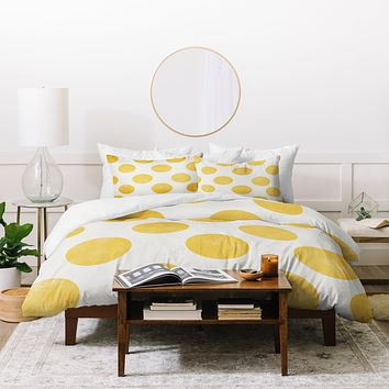 Allyson Johnson Spring Yellow Dots Duvet Cover