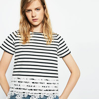 LACE TRIM STRIPED T-SHIRT
