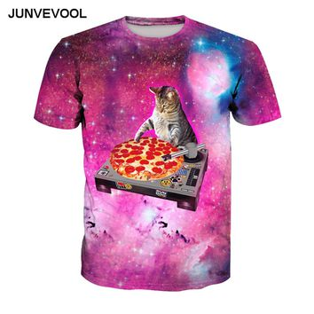 Galaxy Space Cat Pizza T-Shirts - Men's Crew Neck Novelty Top Tee