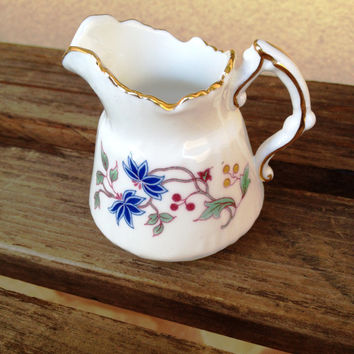 Hammersley & Co. Creamer  - Small Miniature Bone China Creamer Featuring Blue and Pink Flowers