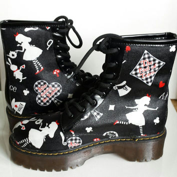 Alice in Wonderland shoes, Alice boots, Custom boots, Alice shoes, Custom Alice shoes, Goth shoes, Alternative, Rockabilly, Punk, Women