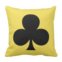 Black Clovers Clubs Suit Poker Game Cushion