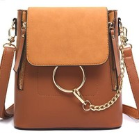Fashion Chain Backpack Purse - Brown