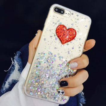 Cute 3D DIY Bling Sparkle Glitter Powder Love Heart Case For iphone 7 6 6S Plus Fundas Clear Soft TPU Silicone Epoxy Back Cover