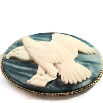 Vintage Incolay Belt Buckle with an American Bald Eagle, Made in the USA