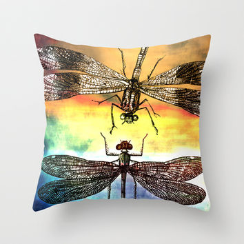 DRAGONFLY meets a Friend - Throw Pillow by Pia Schneider [atelier COLOUR-VISION] #pillow #home #decor #animals #vintage #dragonflies #gift