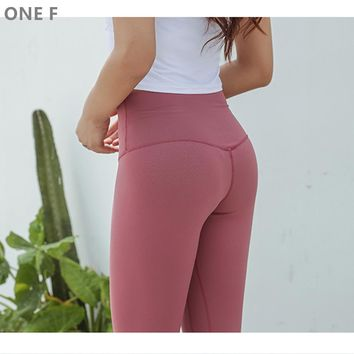 ONE F cropped sport leggings with pocket breathable fitness clothing squat pants high waisted tummy control yoga pants for women